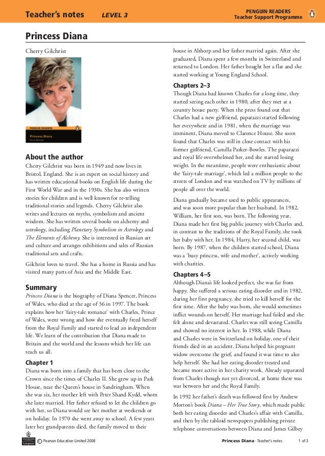 Princess Diana c Pearson Education Limited 2008 Princess Diana - Teacher's notes	  of 3 Teacher's notes	 LEVEL 3 PENGUIN R...