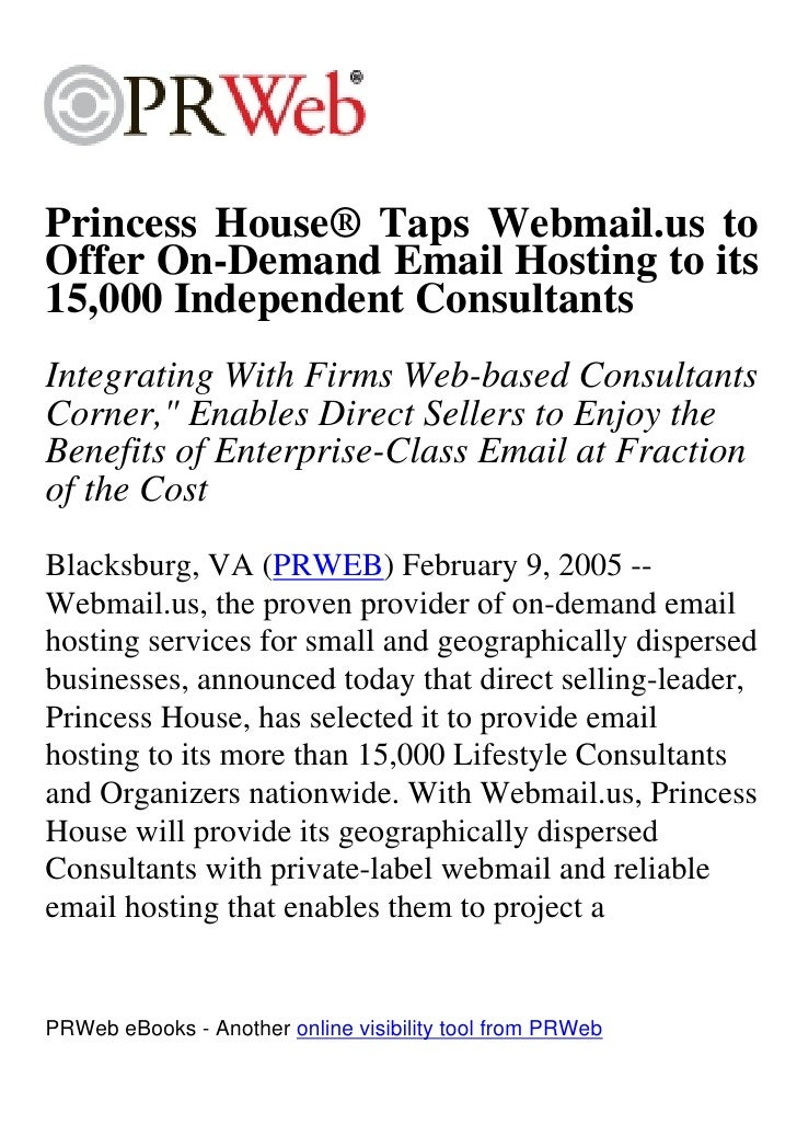 Princess House® Taps Webmail.us to Offer On-Demand Email Hosting to its 15,000 Independent Consultants Integrating With Fi...