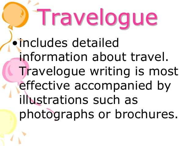 Travelogue examples