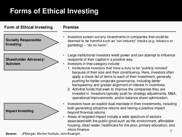 ethical investments Ethical & socially responsible investing obviously everyone wants their money  to grow as best it can and that is why we as a company spend a great deal of.