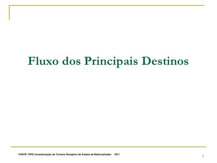 Fluxo dos Principais DestinosFONTE: FIPE-Caracterização do Turismo Receptivo do Estado da Bahia/salvador   , 2011   1