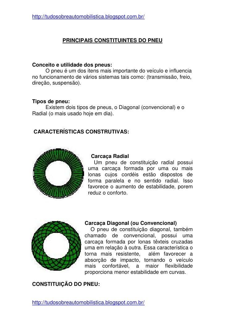 http://tudosobreautomobilistica.blogspot.com.br/            PRINCIPAIS CONSTITUINTES DO PNEUConceito e utilidade dos pneus...