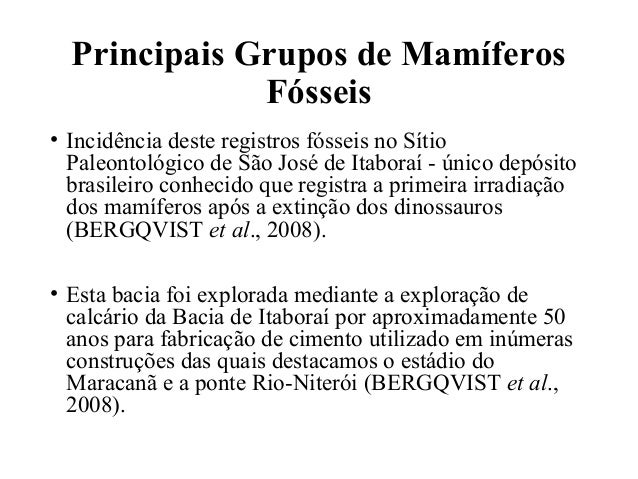 Principais Grupos de Mamíferos  Fósseis  • Incidência deste registros fósseis no Sítio  Paleontológico de São José de Itab...