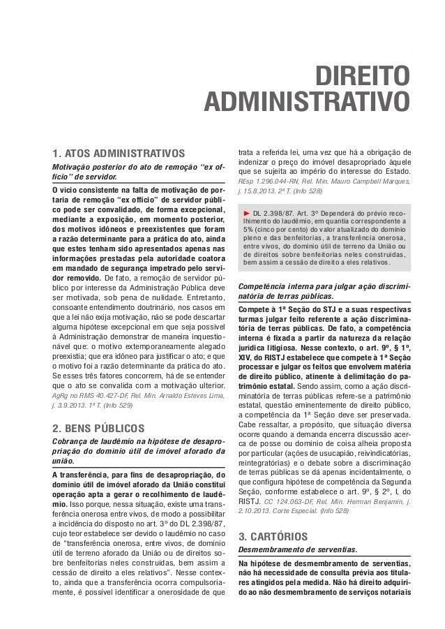 """37  Direito Administrativo  Direito Administrativo 1. Atos administrativos Motivação posterior do ato de remoção """"ex offic..."""