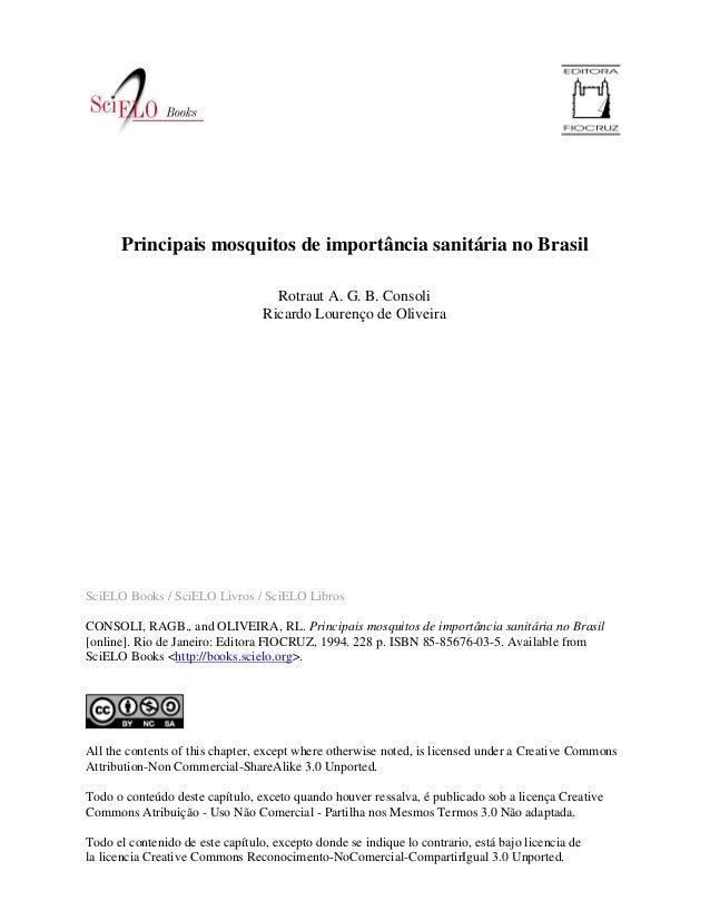 SciELO Books / SciELO Livros / SciELO Libros CONSOLI, RAGB., and OLIVEIRA, RL. Principais mosquitos de importância sanitár...