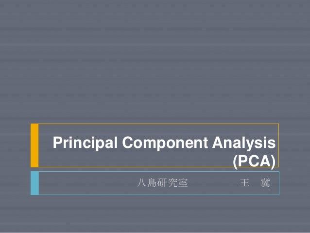 Principal Component Analysis(PCA)八島研究室 王 冀