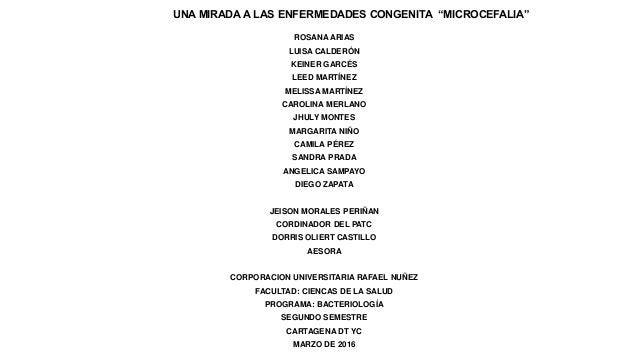 """UNA MIRADA A LAS ENFERMEDADES CONGENITA """"MICROCEFALIA"""" ROSANA ARIAS LUISA CALDERÓN KEINER GARCÉS LEED MARTÍNEZ MELISSA MAR..."""