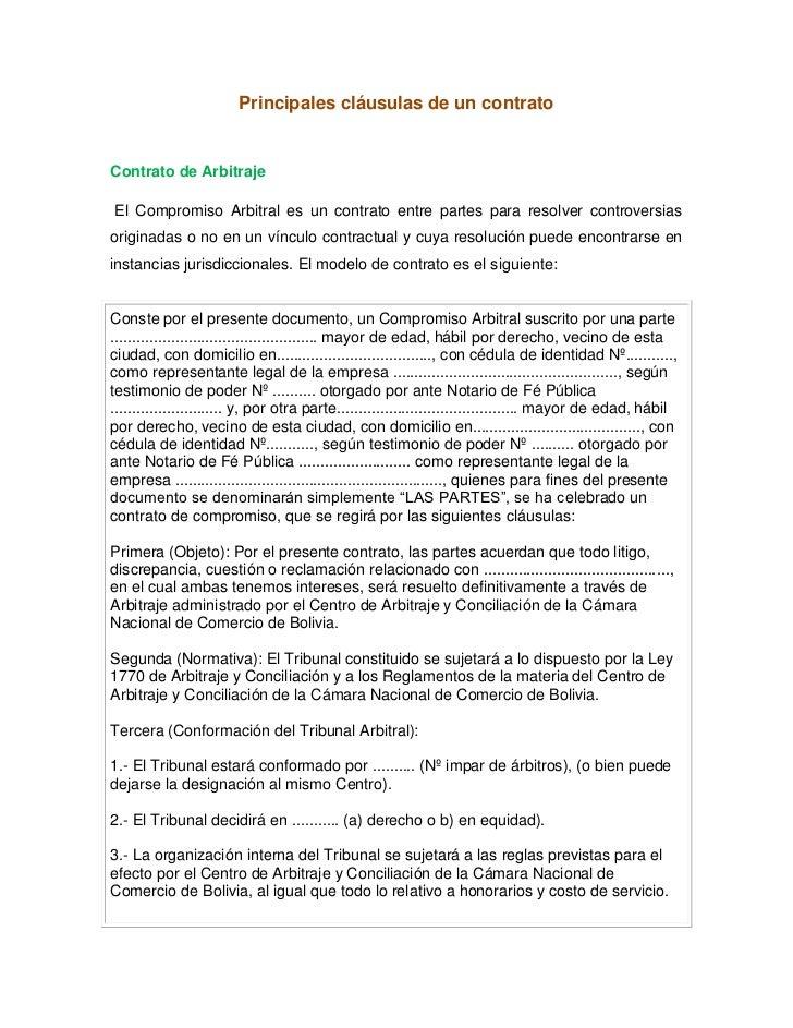 principales cl usulas de un contrato