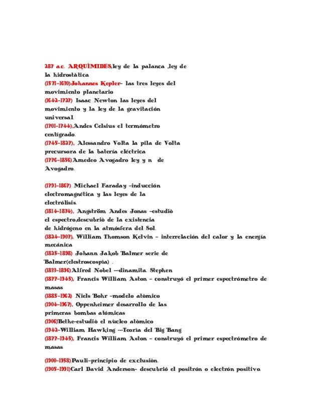 287 a.c. ARQUÌMIDES,ley de la palanca ,ley dela hidrostàtica(1571-1630)Johannes Kepler- las tres leyes delmovimiento plane...