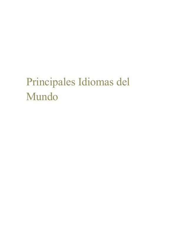 Principales Idiomas delMundo