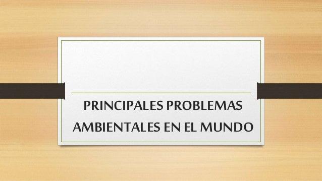 PRINCIPALES PROBLEMAS AMBIENTALES EN EL MUNDO