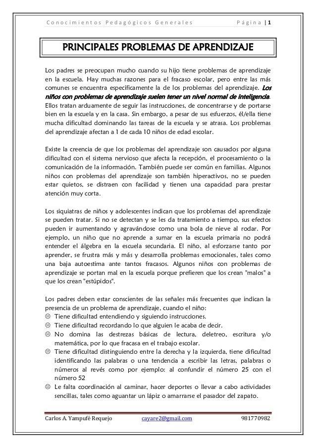 Conocimientos Pedagógicos Generales                                     Página |1      PRINCIPALES PROBLEMAS DE APRENDIZAJ...