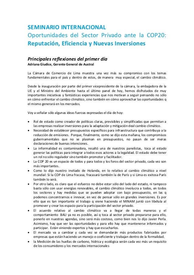 SEMINARIO INTERNACIONAL  Oportunidades del Sector Privado ante la COP20: Reputación, Eficiencia y Nuevas Inversiones  Prin...