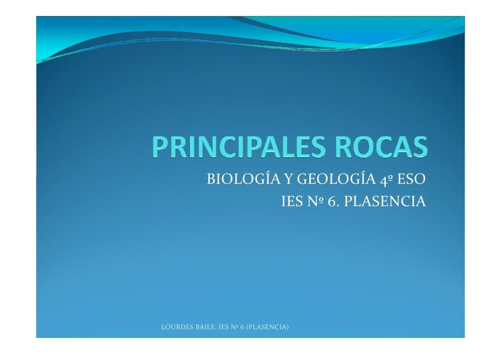 BIOLOGÍA Y GEOLOGÍA 4º ESO                     IES Nº 6. PLASENCIA     LOURDES BAILE. IES Nº 6 (PLASENCIA)