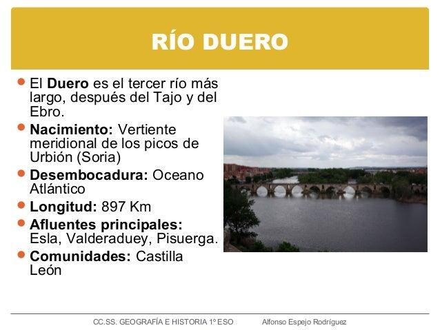RÍO DUERO El Duero es el tercer río más largo, después del Tajo y del Ebro. Nacimiento: Vertiente meridional de los pico...