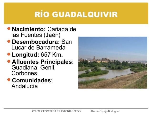 RÍO GUADALQUIVIR Nacimiento: Cañada de las Fuentes (Jaén) Desembocadura: San Lucar de Barrameda Longitud: 657 Km. Aflu...