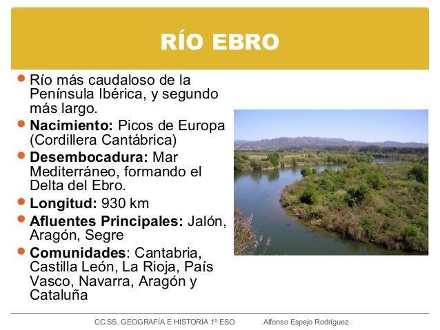 RÍO EBRO Río más caudaloso de la Península Ibérica, y segundo más largo. Nacimiento: Picos de Europa (Cordillera Cantábr...