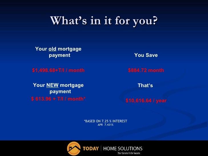 Principal Reduction, Mortgage Reduction, Refinance