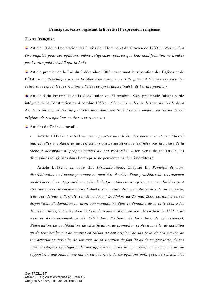Principaux textes régissant la liberté et l'expression religieuse  Textes français :     Article 10 de la Déclaration des ...