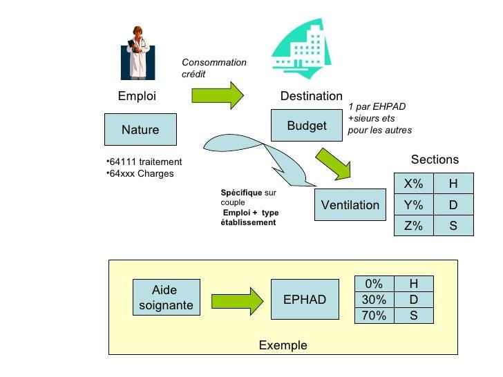 Exemple Emploi Destination Aide  soignante EPHAD Nature Budget Ventilation <ul><li>64111 traitement </li></ul><ul><li>64xx...