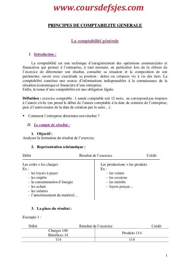 1 PPRRIINNCCIIPPEESS DDEE CCOOMMPPTTAABBIILLIITTEE GGEENNEERRAALLEE La comptabilité générale I. Introduction : La comptabi...