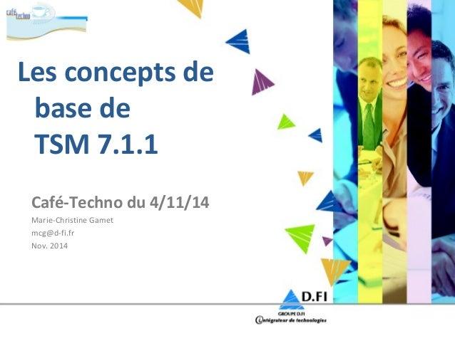 Les concepts de  base de  TSM 7.1.1  Café-Techno du 4/11/14  Marie-Christine Gamet  mcg@d-fi.fr  Nov. 2014