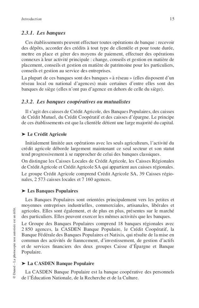 16 PRINCIPES DE TECHNIQUE BANCAIRE ➤ Le Crédit Coopératif Le Groupe Crédit Coopératif est organisé autour d'une banque nat...