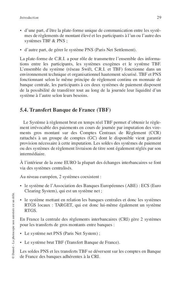 30 PRINCIPES DE TECHNIQUE BANCAIRE 5.5. TARGET TARGET (Trans european Automated Real time Gross settlement Express Transfe...