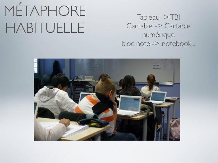 MÉTAPHORE         Tableau -> TBIHABITUELLE     Cartable -> Cartable                    numérique             bloc note -> ...