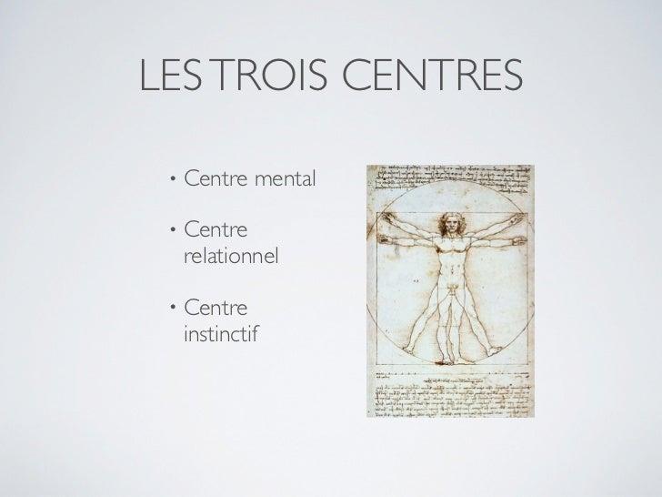 LES TROIS CENTRES •   Centre mental •   Centre     relationnel •   Centre     instinctif