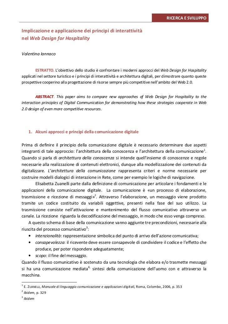 RICERCA E SVILUPPOImplicazione e applicazione dei principi di interattivitànel Web Design for HospitalityValentina Iannaco...