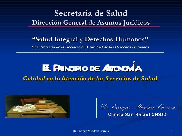 """Secretaria de Salud   Dirección General de Asuntos Jurídicos   """"Salud Integral y Derechos Humanos""""   60 aniversario de la ..."""