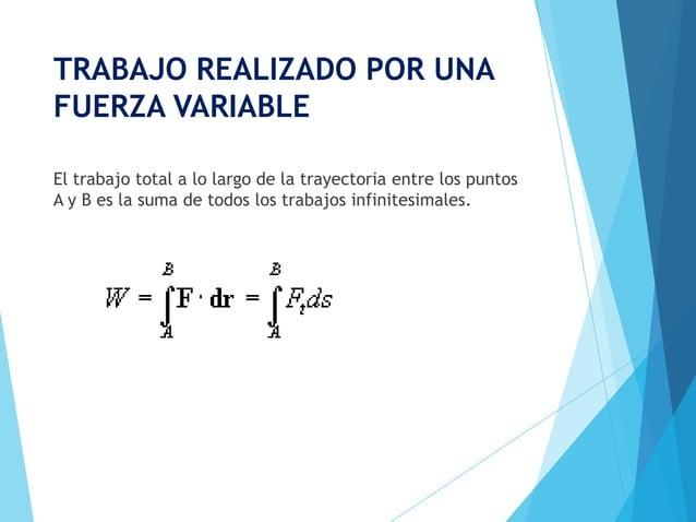 TRABAJO REALIZADO POR UNAFUERZA VARIABLEEl trabajo total a lo largo de la trayectoria entre los puntosA y B es la suma de ...