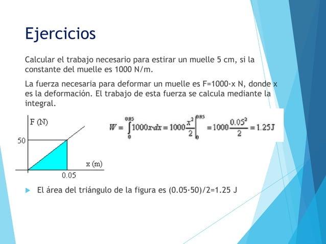 EjerciciosCalcular el trabajo necesario para estirar un muelle 5 cm, si laconstante del muelle es 1000 N/m.La fuerza neces...