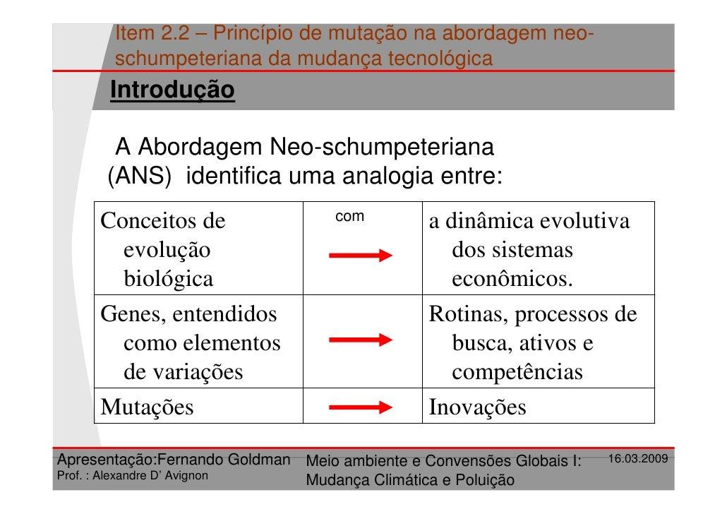 Item 2.2 – Princípio de mutação na abordagem neo-        schumpeteriana da mudança tecnológica        Introdução         A...