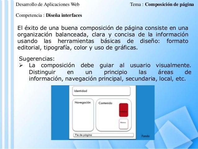 Desarrollo de Aplicaciones Web  Tema : Composición de página  Competencia : Diseña interfaces  El éxito de una buena compo...
