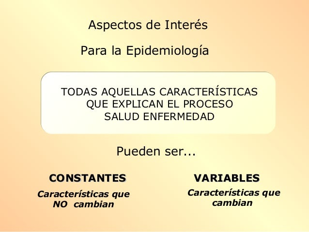 TODAS AQUELLAS CARACTERÍSTICAS QUE EXPLICAN EL PROCESO SALUD ENFERMEDAD Pueden ser... CONSTANTESCONSTANTES VARIABLESVARIAB...