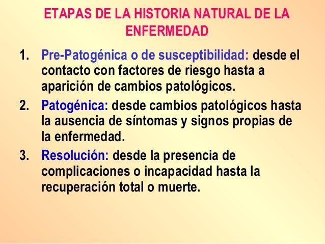 ETAPAS DE LA HISTORIA NATURAL DE LA ENFERMEDAD 1. Pre-Patogénica o de susceptibilidad: desde el contacto con factores de r...