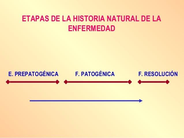 ETAPAS DE LA HISTORIA NATURAL DE LA ENFERMEDAD E. PREPATOGÉNICA F. PATOGÉNICA F. RESOLUCIÓN