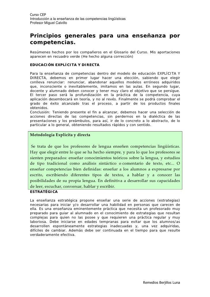 Curso CEP Introducción a la enseñanza de las competencias lingüísticas Profesor Miguel Calvillo   Principios generales par...
