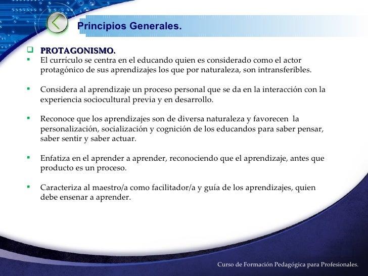 Principios y objetivos de curriculo nacional