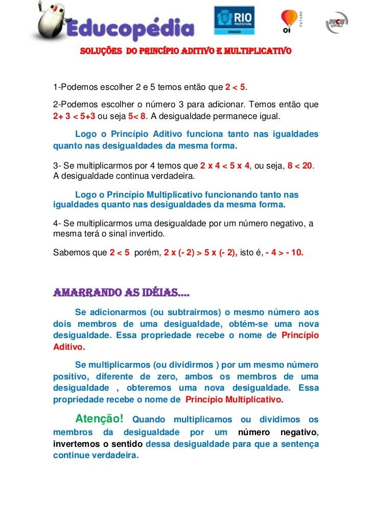 SOLUÇÕES  DO PRINCÍPIO ADITIVO E MULTIPLICATIVO<br />1-Podemos escolher 2 e 5 temos então que 2 < 5.<br />2-Podemos escolh...