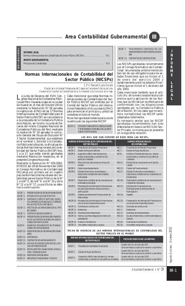 SegundaQuincena-Diciembre2002 Actualidad Empresarial N° 29 Area Contabilidad Gubernamental I N F O R M E L E G A L III cos...