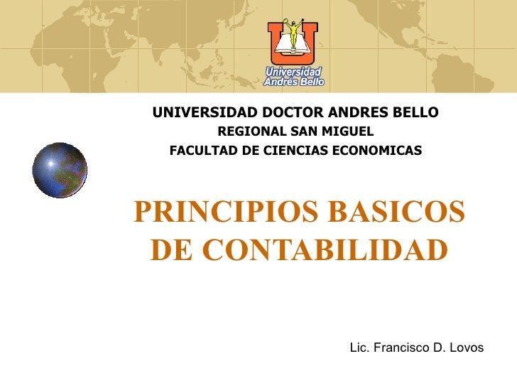 UNIVERSIDAD DOCTOR ANDRES BELLO        REGIONAL SAN MIGUEL  FACULTAD DE CIENCIAS ECONOMICASPRINCIPIOS BASICOS DE CONTABILI...