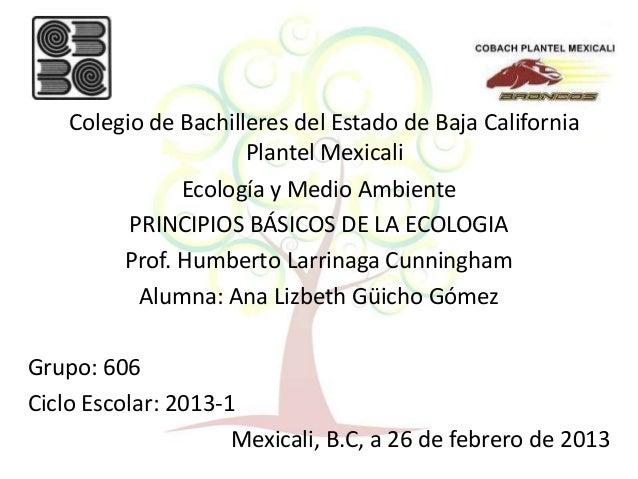 Colegio de Bachilleres del Estado de Baja California                      Plantel Mexicali               Ecología y Medio ...