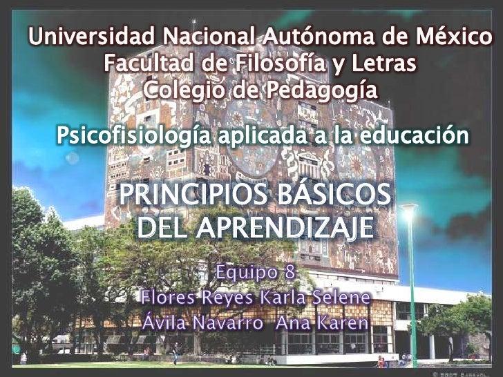Universidad Nacional Autónoma de México<br />Facultad de Filosofía y Letras<br />Colegio de Pedagogía<br />Psicofisiología...