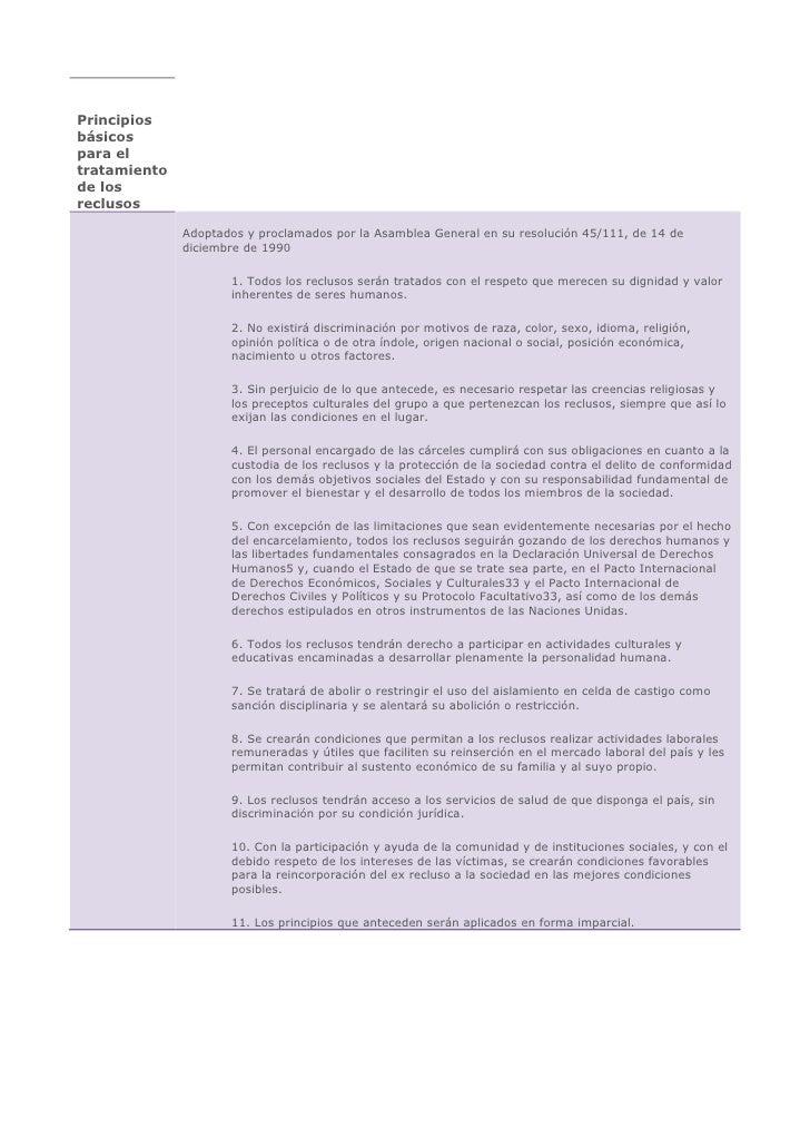 Principios básicos para el tratamiento de los reclusos                Adoptados y proclamados por la Asamblea General en s...