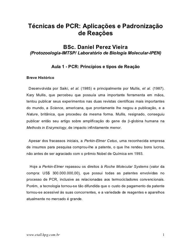 Técnicas de PCR: Aplicações e Padronização               de Reações                       BSc. Daniel Perez Vieira (Protoz...
