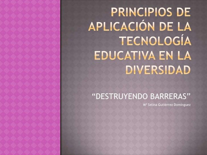 """PRINCIPIOS DE APLICACIÓN DE LA TECNOLOGÍA EDUCATIVA EN LA DIVERSIDAD<br />""""DESTRUYENDO BARRERAS""""<br />Mª Selina Gutiérrez ..."""