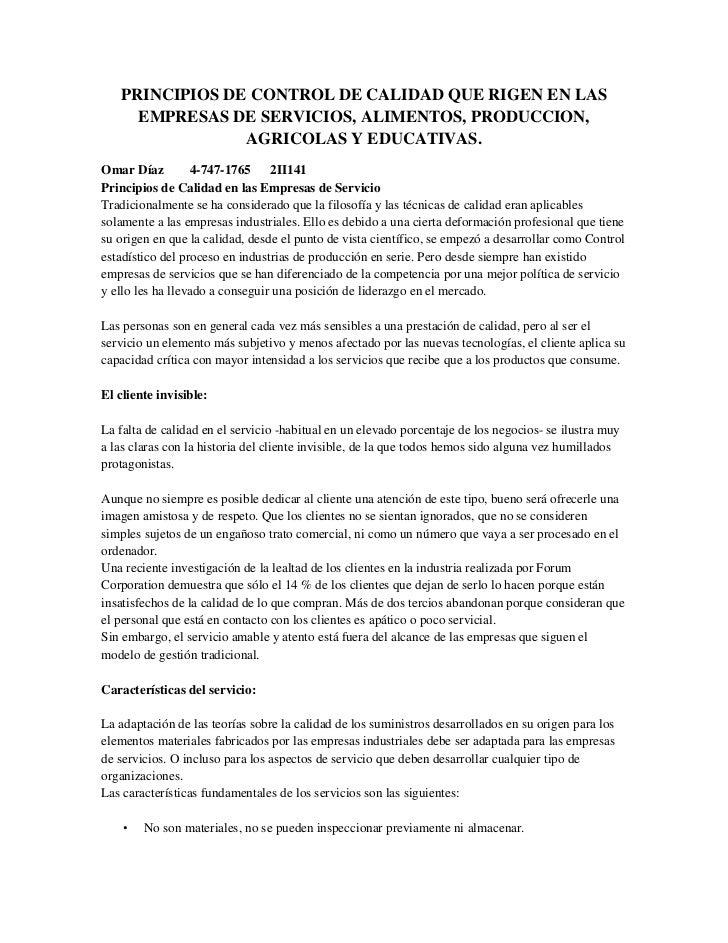 PRINCIPIOS DE CONTROL DE CALIDAD QUE RIGEN EN LAS     EMPRESAS DE SERVICIOS, ALIMENTOS, PRODUCCION,                AGRICOL...